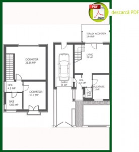 Plan casa cu 3 camere